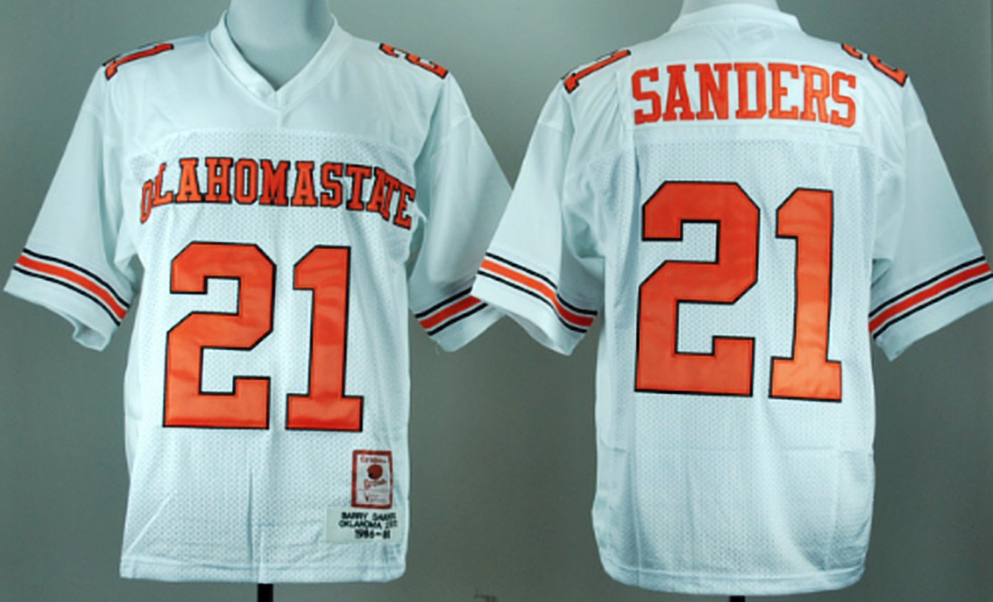 reputable site 14f86 cf49a Barry Sanders Oklahoma College Football Jersey   Custom Throwback Retro  College Jersey