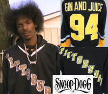 "Load image into Gallery viewer, Snoop Dogg ""Gin and Juice"" Pittsburgh Hockey #94 Music Jersey Custom Throwback 90's Retro Music Jersey"