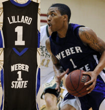 Load image into Gallery viewer, Damian Lillard Weber State College Basketball Jersey (Away) Custom Throwback Retro College Jersey