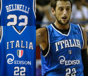 Marco Belinelli Italy EuroLeague Basketball Jersey Custom Throwback Retro Jersey