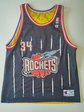 Load image into Gallery viewer, Reversible Vintage Retro Champion Los Angeles Lakers Shaquille O'Neal Houston Rockets Hakeem Olajuwon Basketball Jersey Size 44