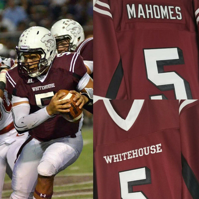 Patrick Mahomes Whitehouse High School Football Jersey Retro Throwback Custom Jersey