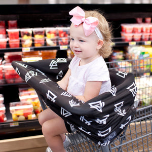 Kids N' Such Stretchy Multi-Use Car Seat Canopy + Nursing Cover + Shopping Cart Cover In Black Triangle Print