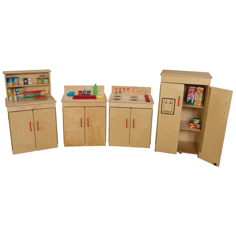 Wood Designs Kids Play Set of 4 Classic Appliances with Deluxe Hutch