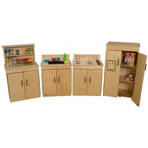 Wood Designs Kids Play Set of 4 Classic Appliances with Deluxe Hutch with Brown Tray and Knobs