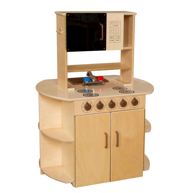 Wood Designs Kids Play All-In-One Kitchen Center with Brown Tray