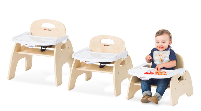 "Foundations Easy Serve Ultra-Efficient Wood Feeding Chair with Removable Try and 3-Point Harness - 5"" Seat Height"