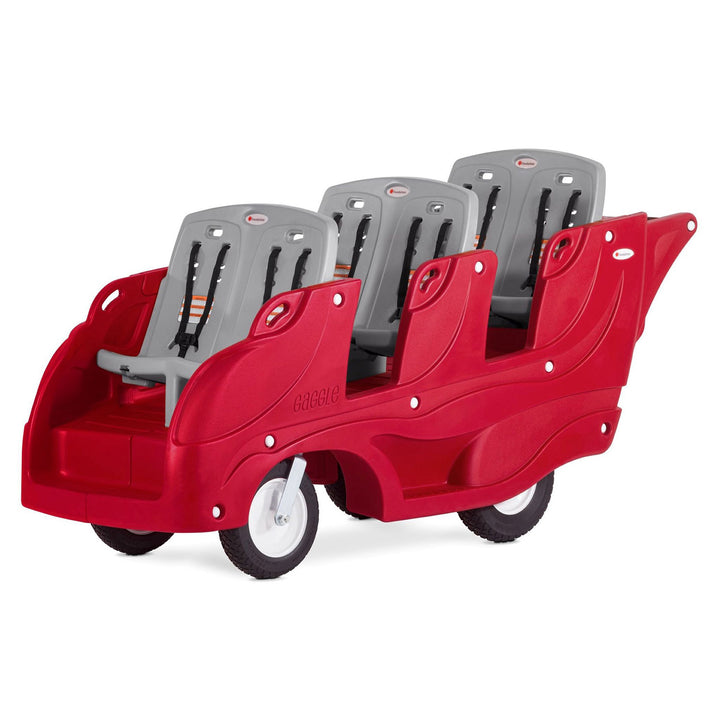 Gaggle Parade 6 Multi-Passenger Child Care Center Buggy with Soft-Stop Brake by Foundations - Red/Gray