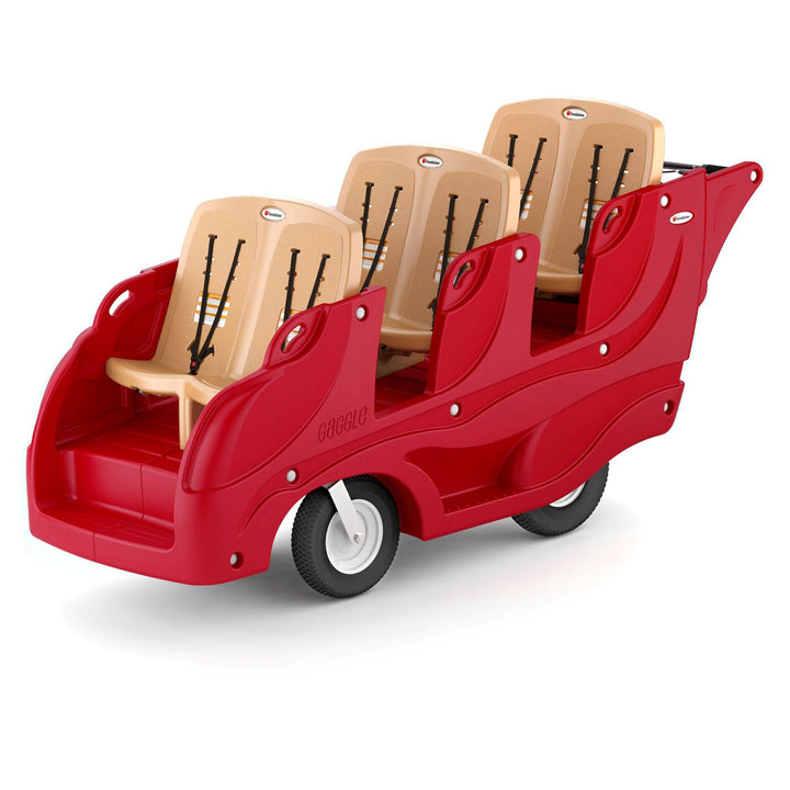 Gaggle Parade 6 Multi-Passenger Child Care Center Buggy with Soft-Stop Brake by Foundations - Red/Tan