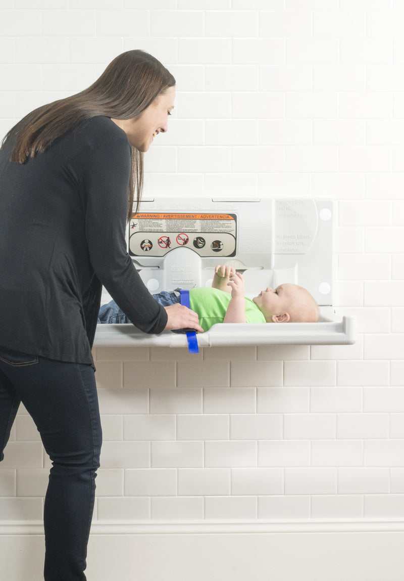 Foundations Horizontal Surface Mount Public Washroom Baby Changing Station (EZ Mount Backer Plate Included)