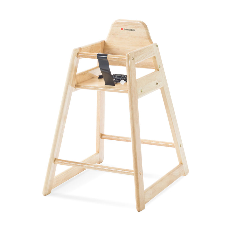 Foundations NeatSeat Food Service or Restaurant Hardwood High Chair - Natural