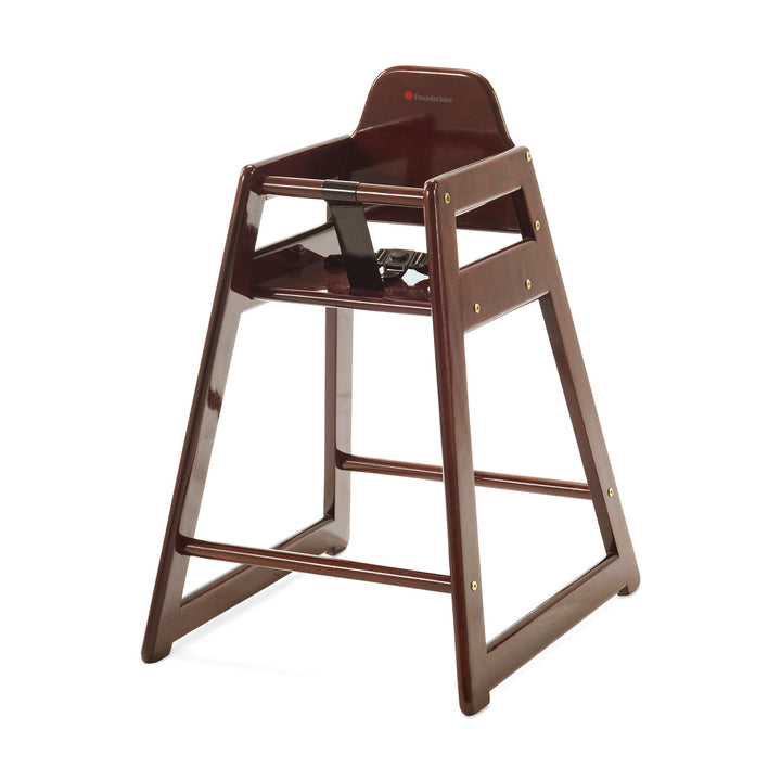 Foundations NeatSeat Food Service or Restaurant Hardwood High Chair - Anitque Cherry