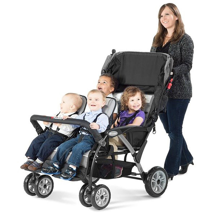 Foundations Quad Sport 4-Passenger Stroller - Gray