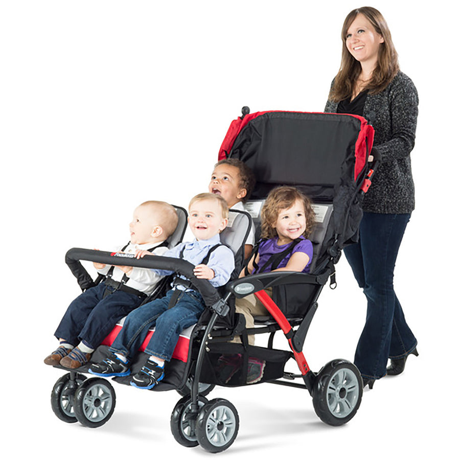 Foundations Quad Sport 4-Passenger Stroller - Red