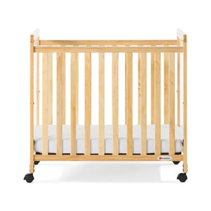 Foundations Safetycraft Fixed-Side Child Care Crib with Adjustable Mattress Board - Clearview-Natural