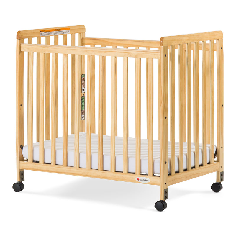 Foundations Safetycraft Fixed-Side Child Care Crib with Adjustable Mattress Board - Slatted-Natural