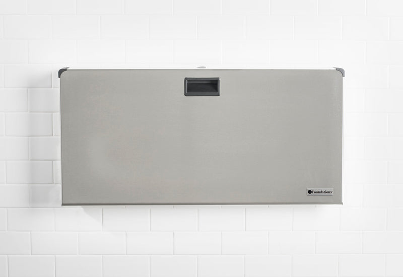 Foundations Stainless Frameless Clad Surface Mount Horizontal Public Washroom Baby Changing Station