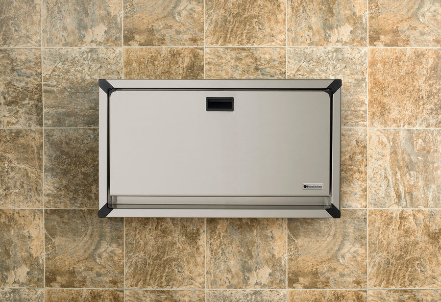 Foundations Surface Mounted Stainless Clad Horizontal Public Washroom Baby Changing Station