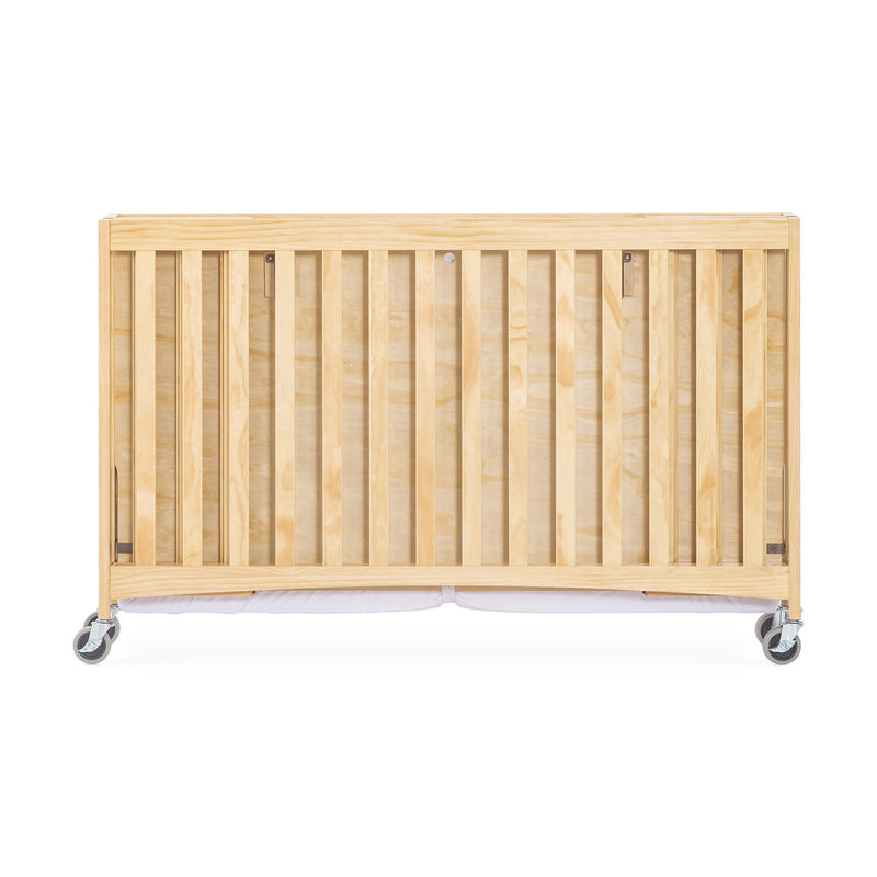 "Foundations Travel Sleeper Full-Size Folding Wood Crib with 3"" Foam Mattress and Oversized Casters - Natural"