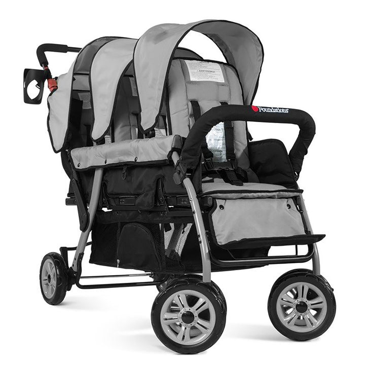 Foundations Trio Sport Triple Tandem Stroller - Gray