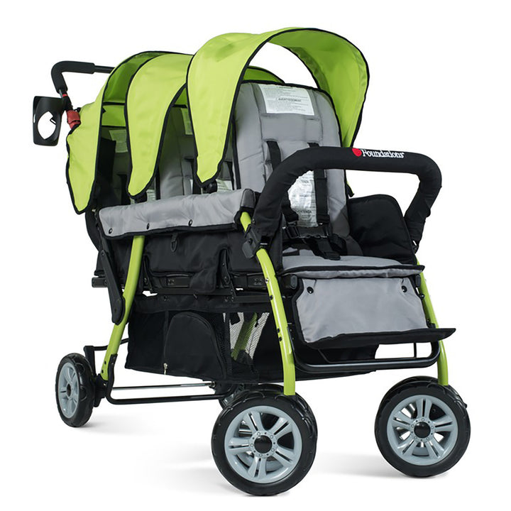 Foundations Trio Sport Triple Tandem Stroller - Lime