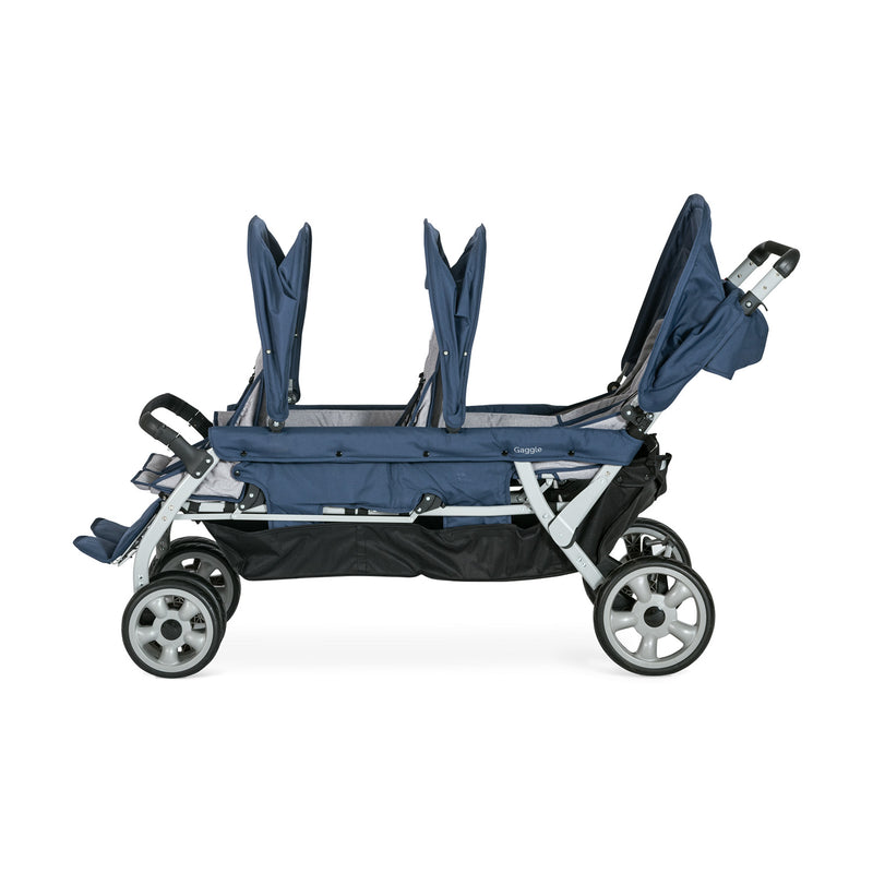 Gaggle Jamboree 6-Seat Large Family or Child Care Center Stroller with Canopy by Foundations - Navy/Gray