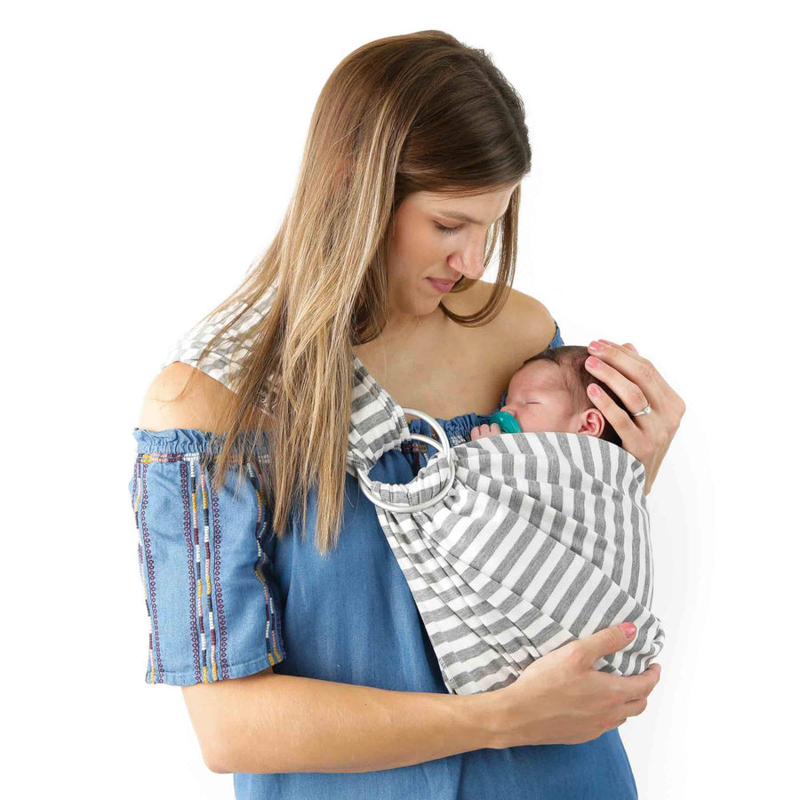 Kids N' Such 4 In 1 Baby Wrap Carrier And Ring Sling - Gray And White Stripes