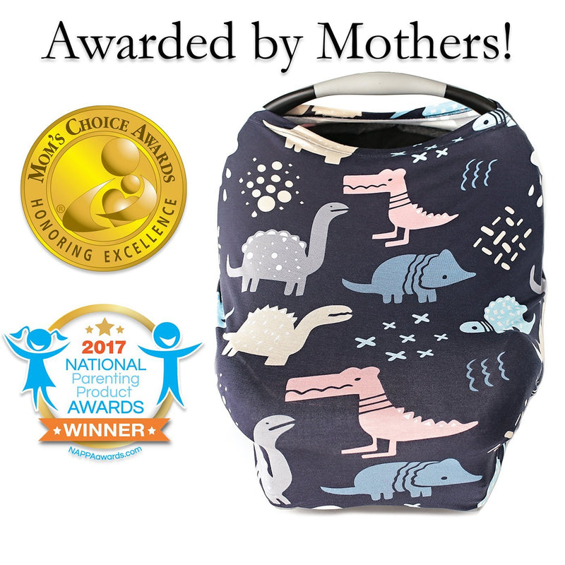 Kids N' Such Stretchy Multi-Use Car Seat Canopy + Nursing Cover + Shopping Cart Cover In Dinosaurs Print