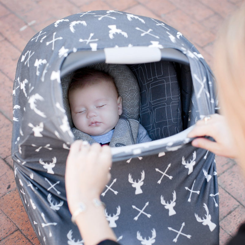Kids N' Such Stretchy Multi-Use Car Seat Canopy + Nursing Cover + Shopping Cart Cover In Grey Stag Print