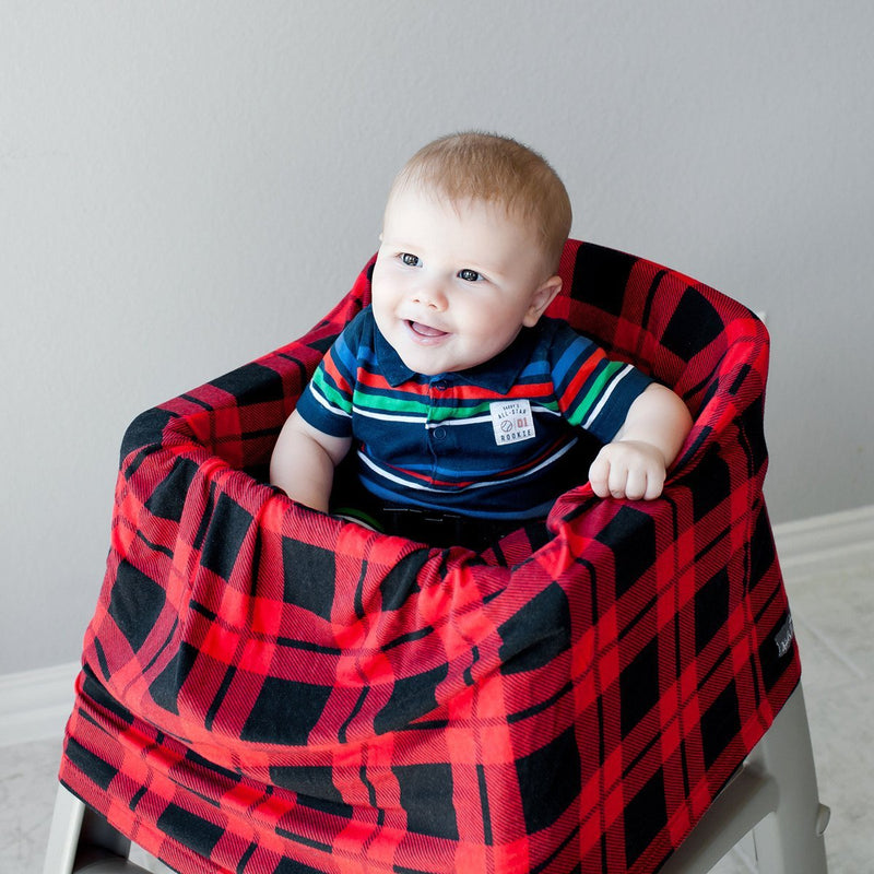 Kids N' Such Stretchy Multi-Use Car Seat Canopy + Nursing Cover + Shopping Cart Cover In Red Plaid Print