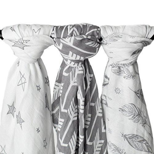 "Kids N' Such Muslin Swaddle Blankets ""Wanderer Set"" Large 47 x 47 Inch - Arrow, Feather and Stars - 3 Pack"