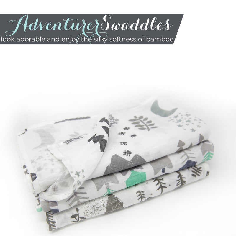 "Kids N' Such Muslin Swaddle Blankets ""Adventurer Set"" Large 47 x 47 Inch - 3 Pack"