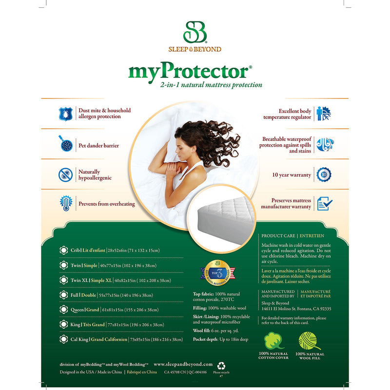 Sleep & Beyond myProtector 2-in-1 Ultimate, Washable, Natural Mattress Protector