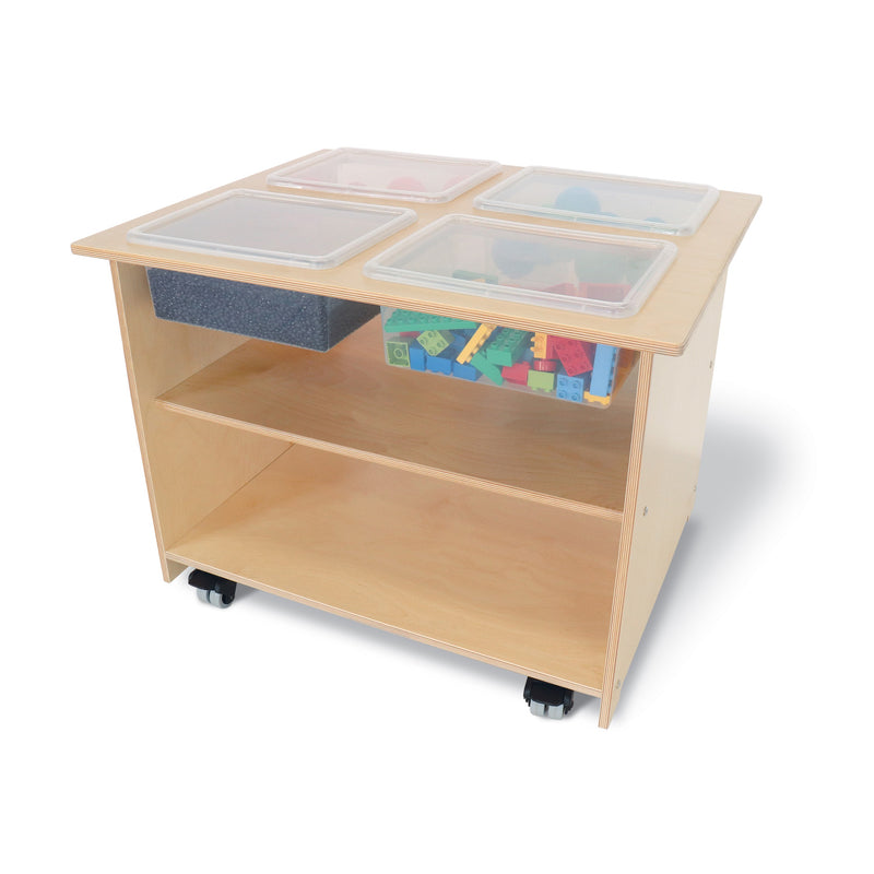 Whitney Brothers Mobile Sensory Table with Trays And Lids