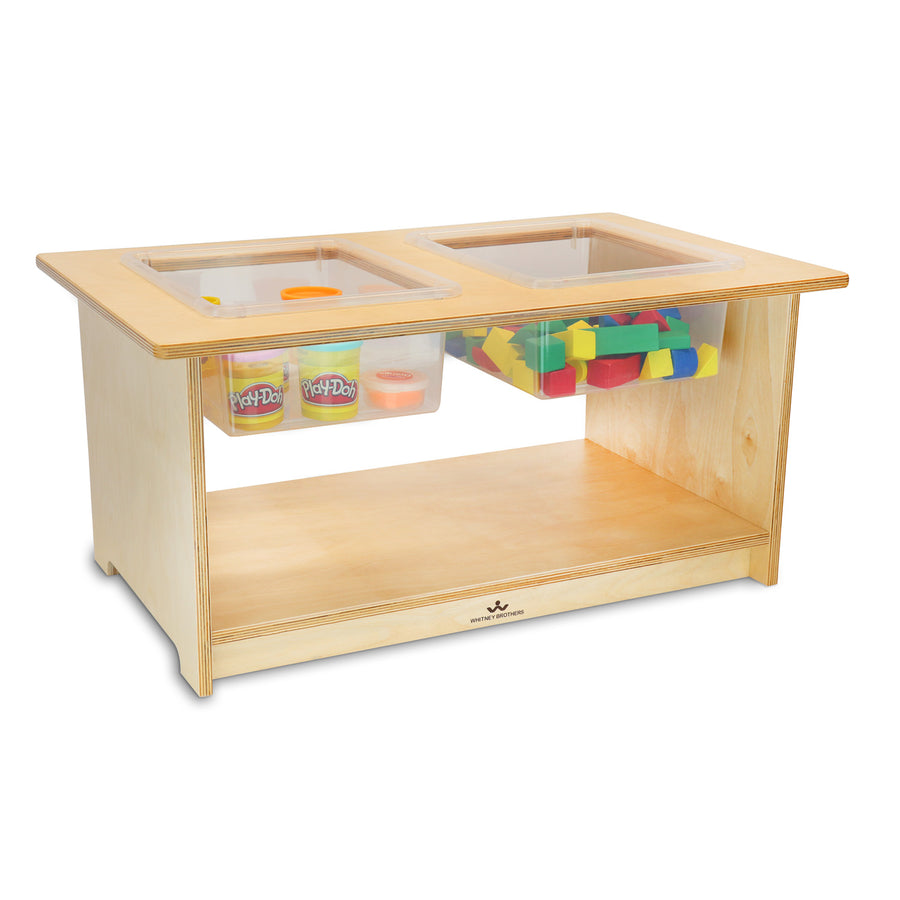 Whitney Brothers Toddler Sensory Table with 2 Removable Trays and Lids
