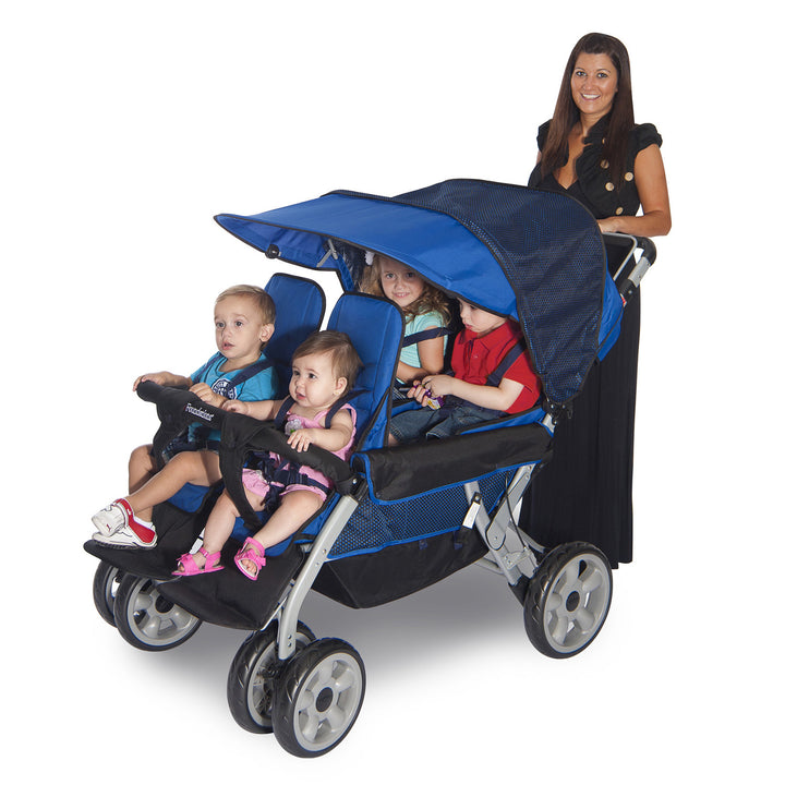Foundations LX4 4-Passenger and Dual Canopy Folding Child Stroller