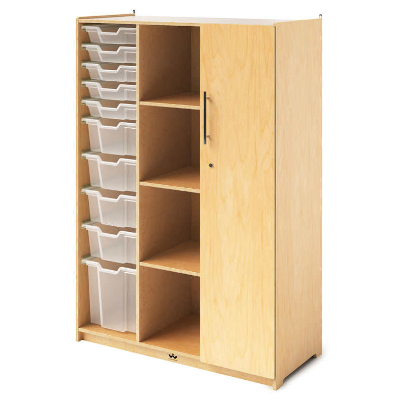 Whitney Brothers Teachers Wardrobe with Trays and Locking Door