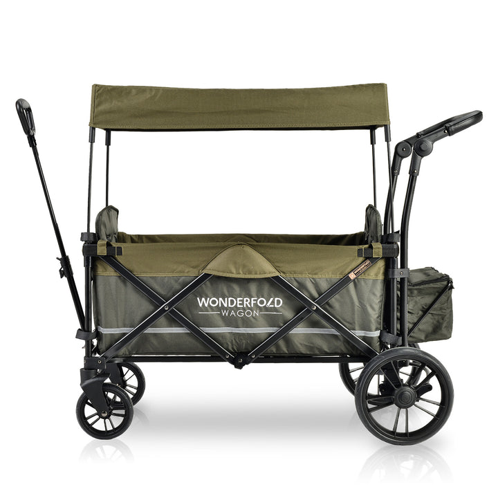 Wonderfold X2 Woodland Green Pull and Push Double Stroller Wagon with Automatic Magnetic Seatbelt Buckles - 2 Seater