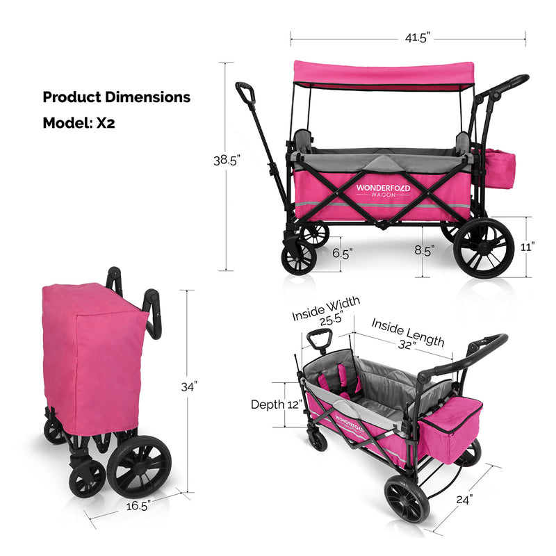 Wonderfold X2 Pull and Push Double Stroller Wagon - 2 Seater