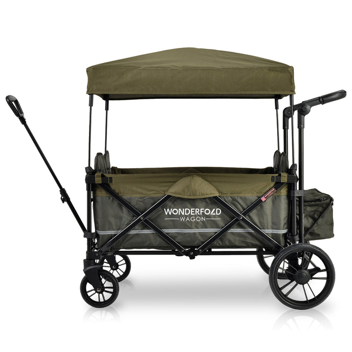 Wonderfold X4 Woodland Green Pull and Push Double Stroller Wagon with Automatic Magnetic Seatbelt Buckles - 4 Seater
