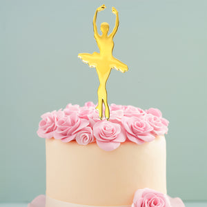 Load image into Gallery viewer, Gold Ballerina Cake Topper