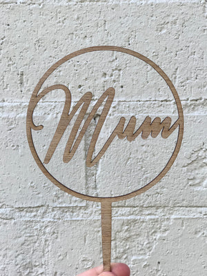 'Mum' Cursive Topper - Ring Timber