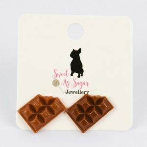 Load image into Gallery viewer, Chocolate Bar Stud Earrings