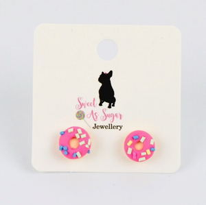 Load image into Gallery viewer, Pink Donut Stud Earrings
