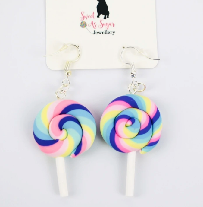 Pastel Swirl Lollipop Earrings