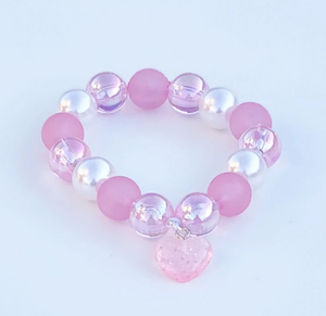 Beaded Bracelet Matching Pink Lollipop Necklace