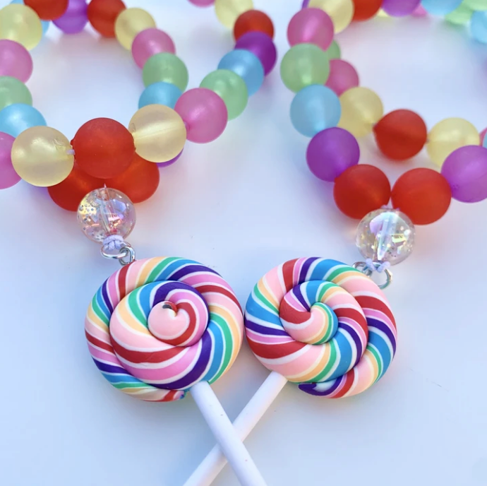 Beaded Rainbow Lollipop Necklace