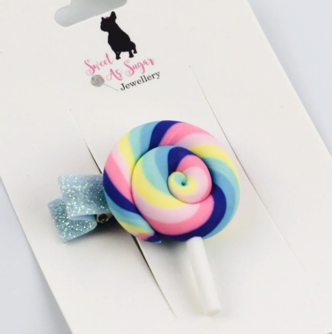 Load image into Gallery viewer, Pastel Swirl Lollipop Hair Clip