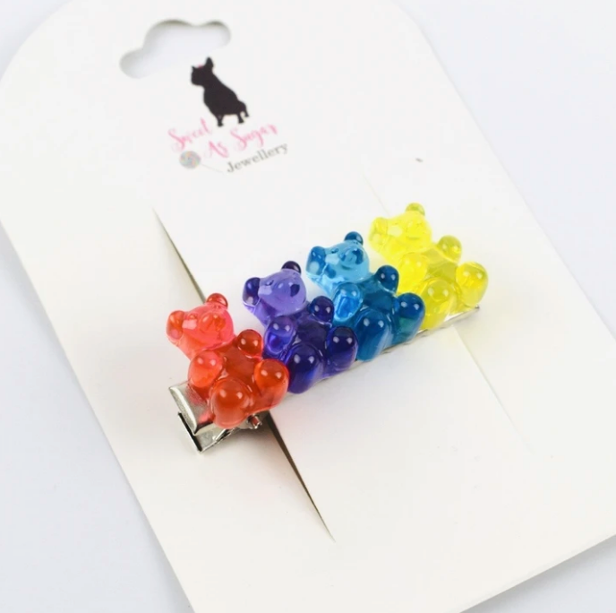 Load image into Gallery viewer, Rainbow Bears Hair Clip