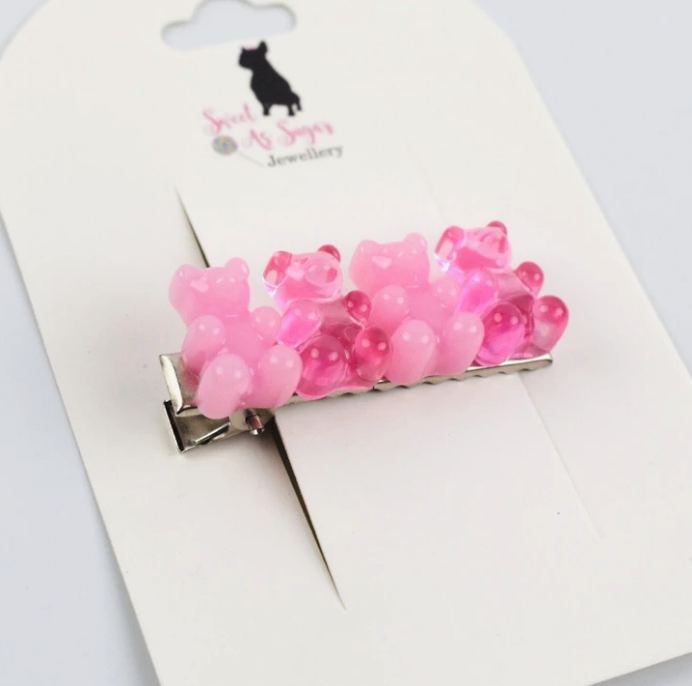 Load image into Gallery viewer, Pink Bears Hair Clip
